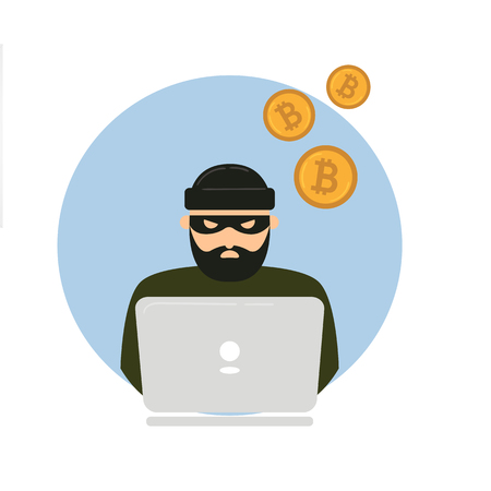 Hacker thief with notebook and bitcoin cryptocurrency. Web unsafe security concept. Swindler try to access internet transaction wallet and stole all currency. Electronic robbery Illustration