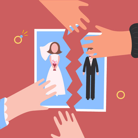 Divorcement. Man and woman hands tear apart wedding photo. Break up of relationship. End of family life. Diamond rings. Disengagement of young former wife and husband. Divorce concept Illustration