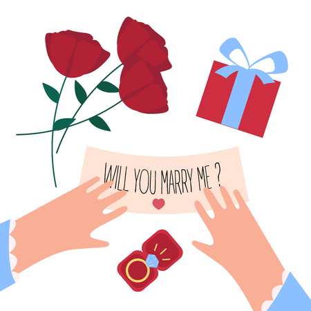 Woman received will you marry me note and engagement diamond ring in a box on valentine. Red roses, female hands, jewelry gift and letter on white background.