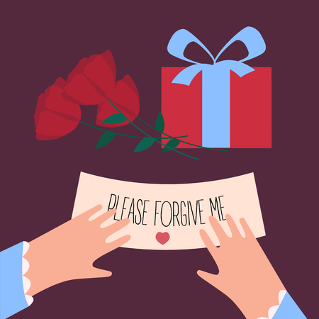 Woman fingers are holding note with please forgive me text. Roses and surprise gift box. Female with letter. Apology and excuse of a man. Vector illustration Standard-Bild - 94504489