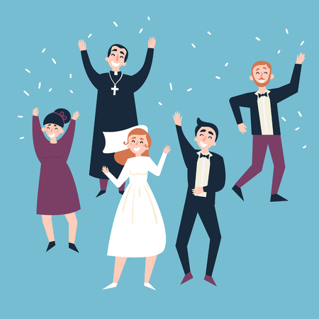 Wedding party. Happy guests, fiance, bride and priest are dancing and full of joy after ceremony. Groom and fiancee become wife and husband. Flat vector illustration.