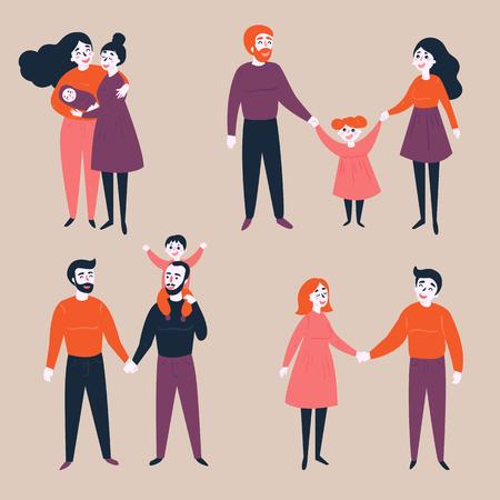 Een homoseksuele groep niet-traditionele en traditionele families. Verschillende koppels, heteroseksueel, homoseksueel en lesbisch met en zonder babykinderen. Gelijkheid in rechtenillustratie.
