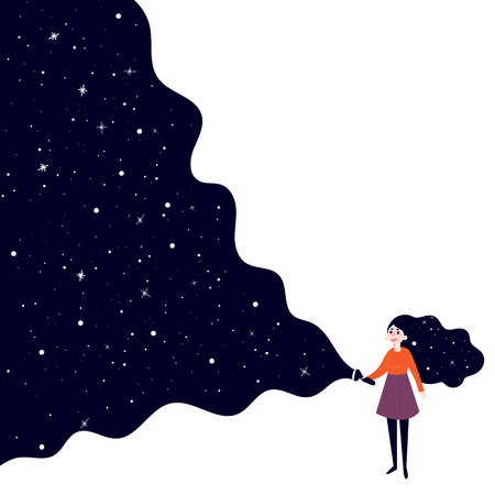 A young girl holding a flashlight shines in the dark and open deep space, stars and sky. Illustration