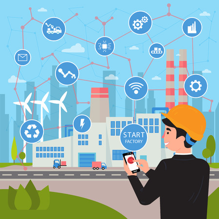 Smart factory. Internet of things and big data concept. Businessman with phone in his hands starts and manage huge plant with application. Neural network of all connections and logistic. Vector flat Illustration
