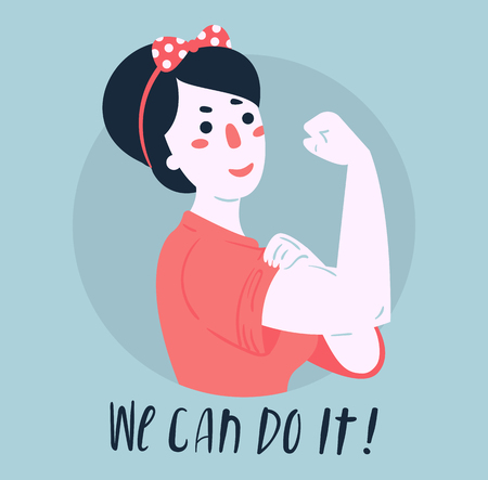 We Can Do It poster. Strong girl. Classical american symbol of female power, woman rights, protest, feminism. Vector colorful hand drawn woman in retro comic style. Empowerment concept 일러스트