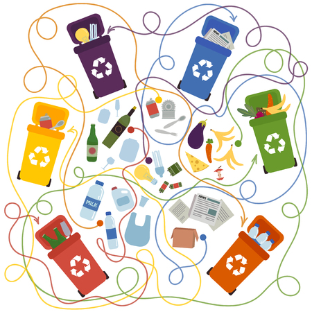 Recycling maze for kids and adults with a solution. Labyrinth game to find way of waste to proper container. Eco and environment friendly education. Connect recycle can and garbage puzzle. Vector flat Stock Illustratie