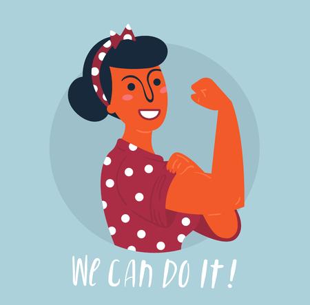 Possiamo farlo poster. Forte ragazza asiatica indù. Classico simbolo americano di potere femminile, diritti della donna, protesta, femminismo. Donna disegnata a mano variopinta di vettore nel retro stile comico. Concetto di potenziamento Vettoriali