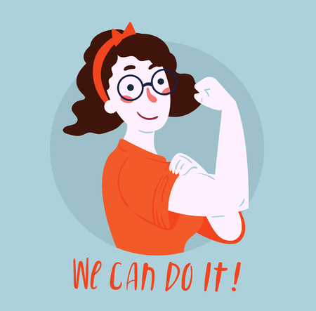 We Can Do It poster. Strong girl in eyeglasses. Classical american symbol of female power, woman rights, protest, feminism. Vector colorful hand drawn woman in retro comic style. Empowerment concept