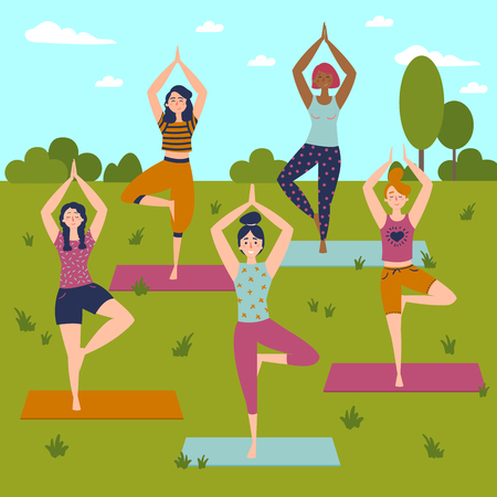 Set with beautiful women in Vriksasana pose of yoga.  Five women in outdoor yoga class. Healthy lifestyle.  Sky, trees and grass background. Ilustração