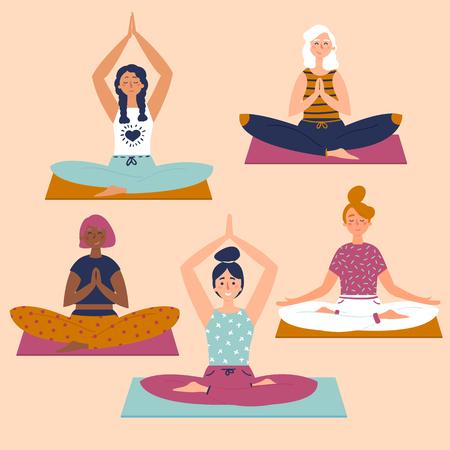 Set with beautiful women in lotus buddha asana pose of yoga. Five women sit on yoga mats. Healthy lifestyle.  Basic stretching fitness. Flat style