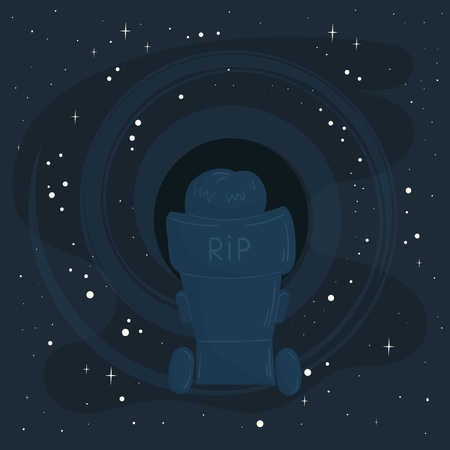 Kyiv, Ukraine, March 17, 2018. In memory of Stephen Hawking. Outstanding scientist in the chair on the way to open space and black hole. RIP. Rest in peace. Illustration