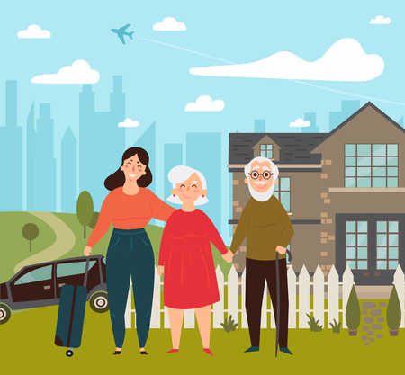 Daughter came on her weekend to her elder parents.  House, car, fence and travel case. Child met her parents at holiday. Travel. Flat illustration Ilustração