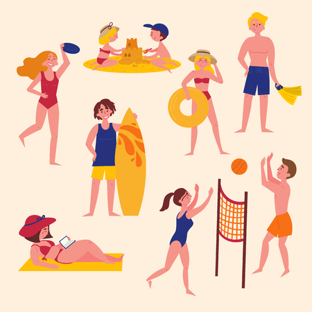 Sunny day on the beach. Summer activities on the beach. Sport and leisure. Boy, girl, man, woman, surfer, parents, tourists. Water sport and happy active life. Volley, surf diving swimwear 矢量图像