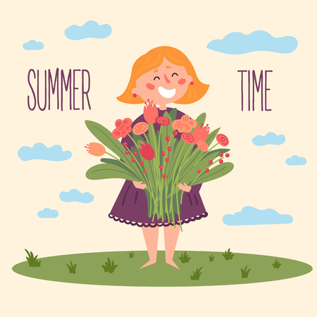 Cute barefoot girl in dress with flowers. Smiling teenage holds bouquet of tulips and spring blossom. Summer time text. Children illustration for books and more. Cartoon character. Summer postcard Vector illustration.