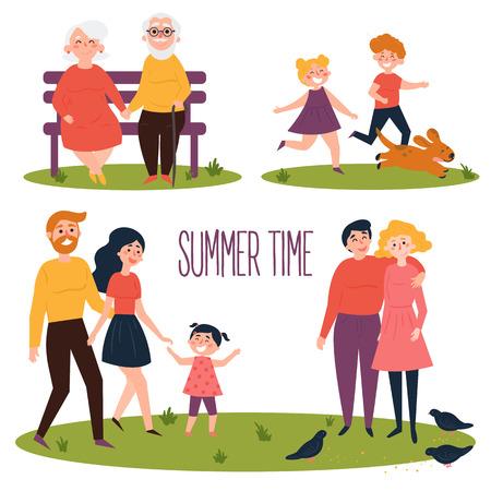 Sommerzeit. Ruhen Sie sich im Park aus und spazieren Sie mit der ganzen Familie im Freien. Die Menschen machen einen Spaziergang im Erholungsgebiet. Kinder mit Hund, älteres Paar auf Bank, junges Paar, Familie mit Tochter. Vektor flach