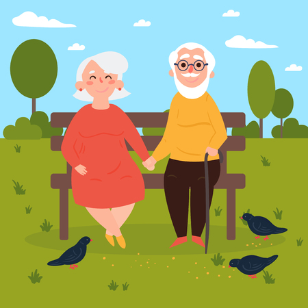 Elderly couple outdoors. Grandparents are sitting on a bench in the park and feeding pigeons. Old couple in love. Vector illustration of a flat design Vettoriali