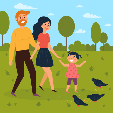 Happy family walks outdoors and feeds pigeons. Mother, father and daughter in ther park. Summer of spring season leisure time. Vector illustration in a flat style