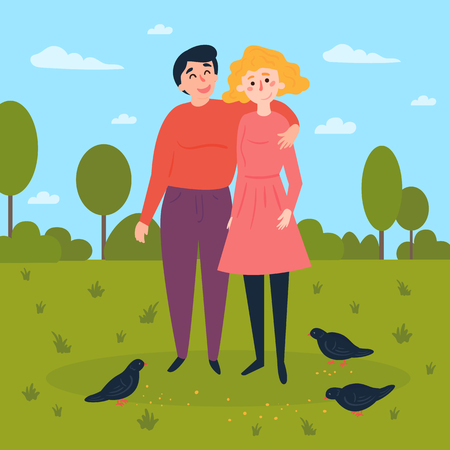 Young couple in the park. Man and woman have a date in summer or spring day time. Pigeon birds and seeds on the grass. Vector flat illustration Vettoriali