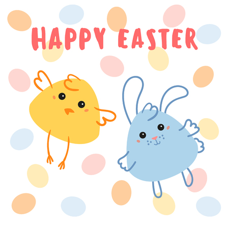 Chicken and baby rabbit with egg background. Thematic happy Easter Day illustration design. Yellow chaick and blue easter bunny. Traditional annual national holiday. Vector flat illustration