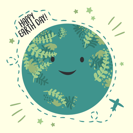 Happy Planet Earth day, April 22 ecology celebration. greeting card. vector background with sky and planet. Airplane with route around the globe. Flat vector illustration. Environmental design Ilustração