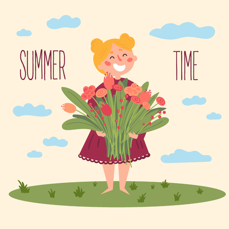 Cute barefooted girl in dress holding a bouquet of flowers. Cartoon character. Summer postcard design