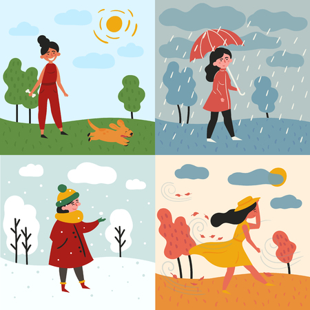 Girl in all four seasons and weather. Female in different poses and cloth, umbrella, dog and trees. Set of vector illustration Ilustração