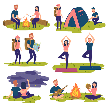 Young couple travel together and doing yoga, hiking, singing sons near bonfire. Man and women with backpacks. Camper people set, tourists traveling, camping and relaxing vector Illustrations Ilustração