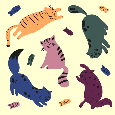 Colorful cats that are playing with the fishes vector illustration Ilustração