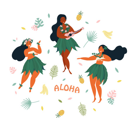Three Hawaiian girls are dancing and playing ukulele guitar. Aloha text. Greeting card. Hawaiian holidays poster with hula girl dancers with lei on the neck and in traditional costumes. Illustration