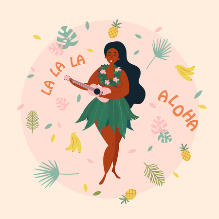 Hula singer girl. Hawaiian plus size woman in traditional costume is singing with ukulele. Greeting card, poster with aloha la la la text. Pineapple, bananas and palm leafs.
