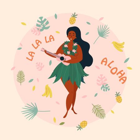 Hula zangeres meisje. Hawaiiaanse plus size vrouw in klederdracht zingt met ukelele. Wenskaart, poster met aloha la la la tekst. Ananas, bananen en palmbladeren. Vector Illustratie
