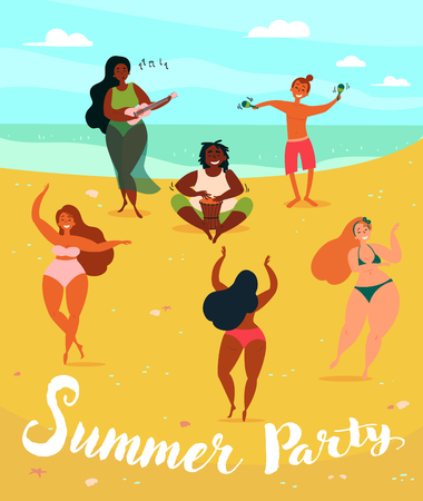 Hawaii summer party poster. Three young hula girls dancing, one singing with ukulele and two guys on the beach, near the sea. Musical party. Ukulele, drum and maracas.