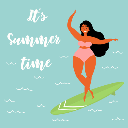 Its summer time text. Hawaiian Caribbean girl surfer in a swimsuit on a long board surfboard rides a wave. Beach lifestyle poster in retro style.
