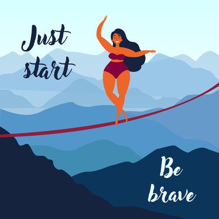 Girl on slackline in the mountains. Just start be brave inspirational text. Keep your balance. Poster for motivation and inspiration. Female in swimsuit on the rope, balancing. Vector illustration Ilustração