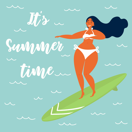 Its summer time text. Hawaiian carribean girl surfer in a swimsuit on a longboard surfboard rides a wave. Beach lifestyle poster in retro style. Vector flat cartoon illustration Ilustração