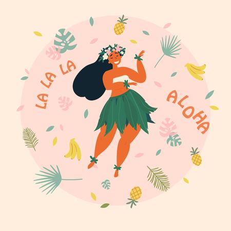 Hawaiian girl is dancing. Aloha la la la text. Greeting card. Hawaiian holidays poster with hula girl dancer with flower wreath on the neck, wearing traditional costume. Vector cartoon illustration Ilustração