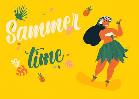 Beautiful cute hula girl with hibiscus wreath. Hawaiian girl in traditional luau festival costume. Female dancer in leaf skirt. Summer time text and aloha hawaii concept. Vector illustration.