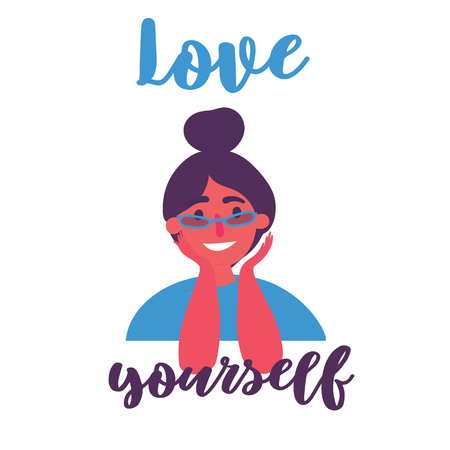 Love yourself insspirational and motivational text. Young attractive grunge modern girl in eyeglasses with high beam haircut. Stylish youth. Believe and stay yourself concept. Vector cartoon flat