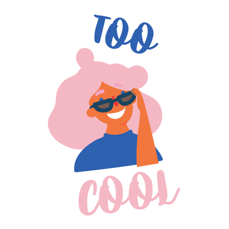 Young fashionable teen girl in sunglasses wearing earrings. Too cool lettering hand drawn text. Student or pupil in art school or college. Female with pink stylish hair. Vector cartoon flat