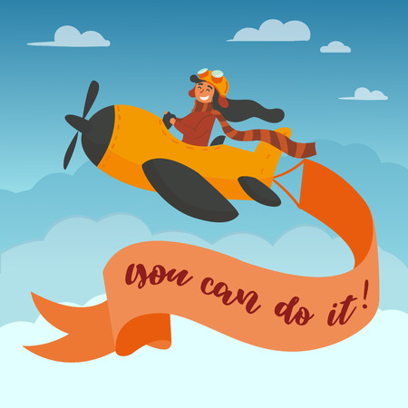 You can do it lettering. Motivational and inspirational advertisment poster. Cute boy pilot in googles and scarf flies on a yellow propeller plane in the sky. Air airplane adventure. Cartoon vector Ilustração