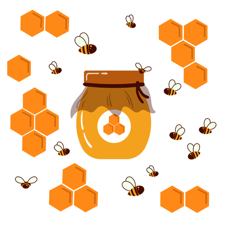 Icon bee honeycomb and glass jar with home honey. Hexagon honeycombs pattern, natural honey structs and bees swarm. Vector illustration. Insects, honey and cup container. For infographics or web