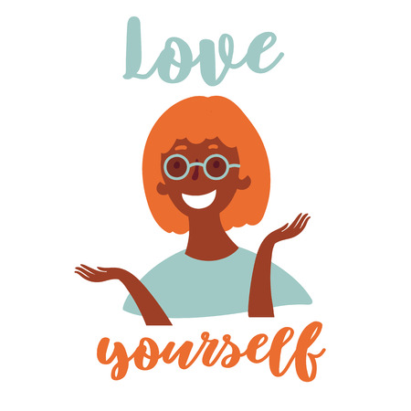 Love yourself inspirational and motivational text. Young black attractive grunge modern girl in eyeglasses. Stylish youth. Believe and stay yourself, girl power concept.Vector cartoon flat