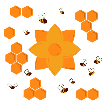 Icon bee honeycomb and nectar flower. Hexagon honeycombs pattern, natural honey structs and bees swarm. Vector illustration. Insects, honey and flowe. For infographics or web Ilustração
