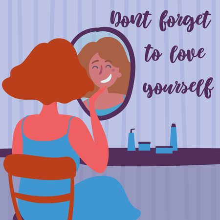 Beautiful young woman applying cosmetics. Don t forget to love yourself text. Feminism and self loving. Motivation poster. Red haired woman in front of fashion mirror. Vector cartoon illustration