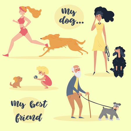 My dog my best friend text. People with pets, that looks similar to them. Set of owners training, playing grooming their pets and walking with them. Old, young and kid. Cartoon vector illustration Ilustração