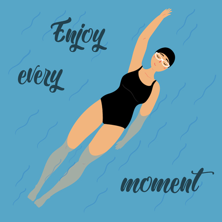 Cute poster design with swimming girl on the back. Woman, wearing swimming suit, cap and glasses. Enjoy every moment motivational lettering text. Relax and take easy. Vector cartoon illustration style Ilustração