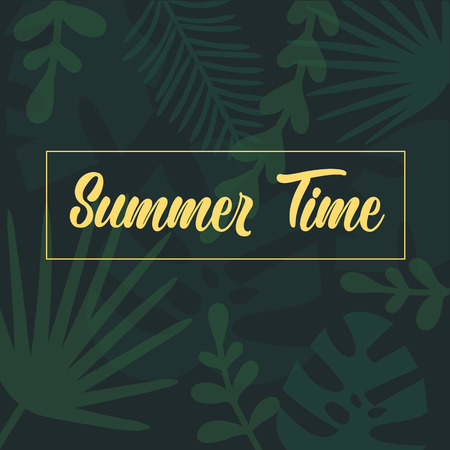 Summer Time lettering. Tropical palm green leaves, jungle leaves seamless vector floral pattern background. Message of summer on tropical, fabric like monstera plant texture