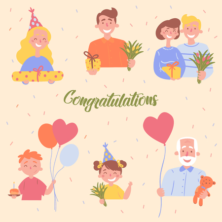 Cartoon kids and adult party poster. Family with presents and gifts. Table sweets, heart shaped balloon, flowers and teddy bear gifts on birthday celebration. Grandfather, parents, sister, father