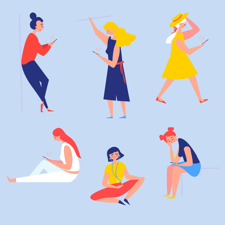 Girls with smartphones. In subway, on the go, sitting, standing and walking. Women, staring in the phones screen in different situations. Listening to the music, reading and scrolling. Cartoon vector Ilustração