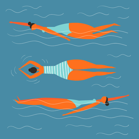 Young girl swimming in the pool. Three different projections. Relaxed woman in striped swimming suit on her back in the sea, pool or ocean, water background. Cartoon flat illustration.
